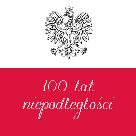Illustration pour le centenaire de l'indépendance de la Pologne. Texte en polonais: 100 ans d'indépendance. Illustration vectorielle Vecteurs