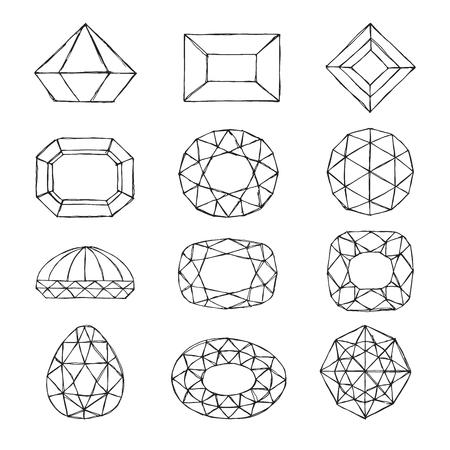 Diamond symbols. Sketch gems isolated on white background. Vector illustration