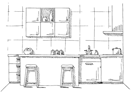 Hand drawn kitchen furniture. Vector illustration in sketch style
