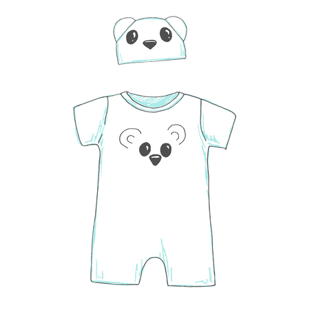 Infant bodysuit with a cap isolated on white background. Sketch