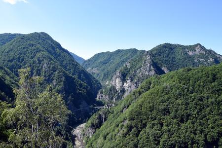 Mount Cetatea near Poenari Castle. Arges River valley, Romania.