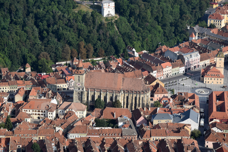 Aerial view of the Brasov Biserica Neagra from Tampa Mount. Brasov, Transylvania, Romania.