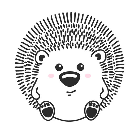 Sketch cute animal. Hedgehog  in a doodle style. Vector Illustration