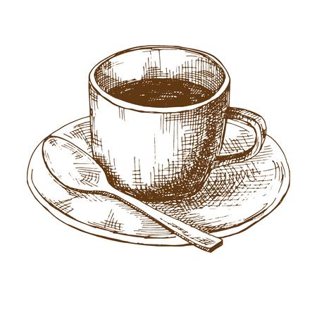 Croquis de tasses à café sur une soucoupe avec une cuillère. Illustration vectorielle dans le style de croquis.