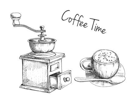 Retro manuelle Kaffeemühle oder Mühle und Becher mit Kaffeeskizze im Vintage-Stil. Vektorgrafik