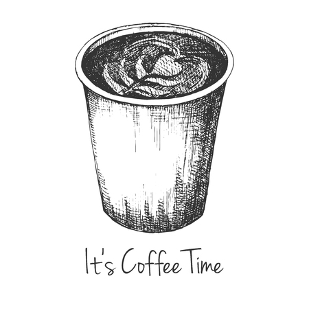 Sketch of a cup of coffee. The inscription It's Coffee Time. Vector illustration of a sketch style. Illustration