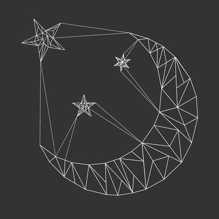 Moon and stars in polygonal style. Triangular polygons. Vector Illustration