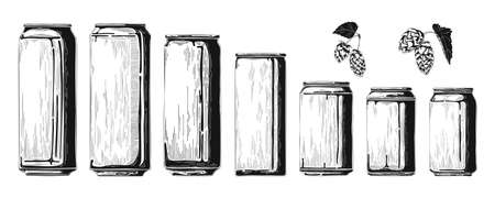 Set of different aluminum cans. Sketch vector illustration