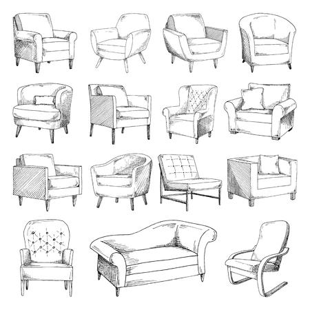 Set of different soft armchairs. Sketch vector illustration. Illustration