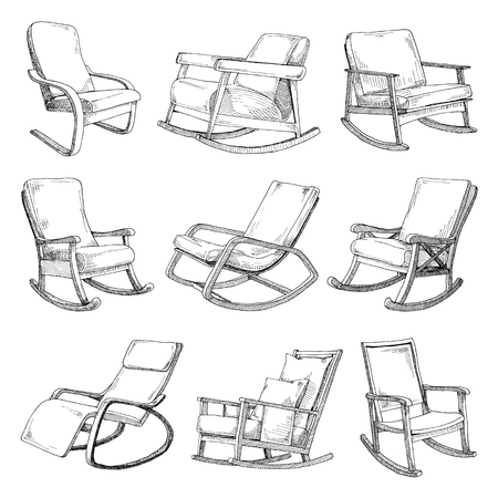 Set with rocking chairs isolated on white background. Sketch a comfortable chair. Vector illustration. Illustration
