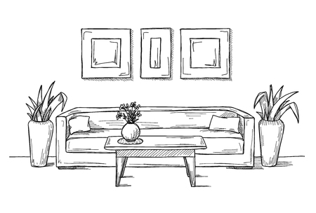 Linear sketch of an interior. Hand drawn vector illustration of a sketch style. Vettoriali
