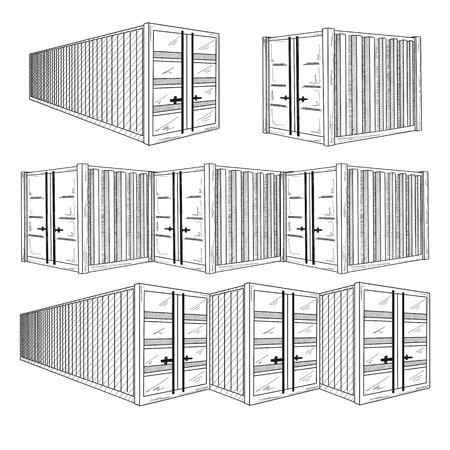 Sketch different containers. Hand drawn vector set.