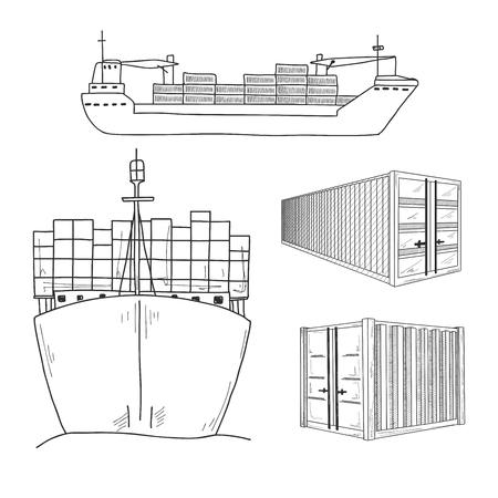 Sketch various containers and cargo ships. Hand drawn. Vector set.