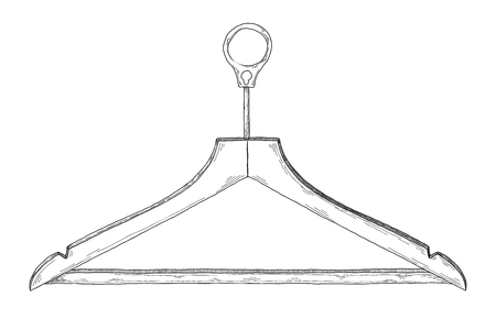 Sketch of clothes hangers isolated on white background. Vector