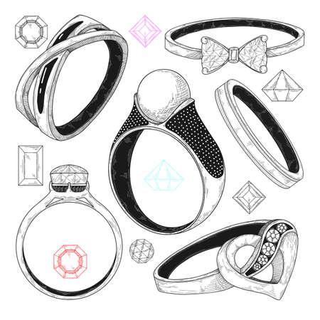 Ręcznie rysowane zestaw różnych pierścionków z biżuterią. Ilustracja wektorowa stylu szkicu.
