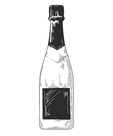 Sketch bottle for wine isolated on white background. Vector illustration Illusztráció
