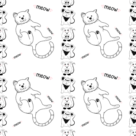 Seamless pattern with cute cat and funny mice. Vector