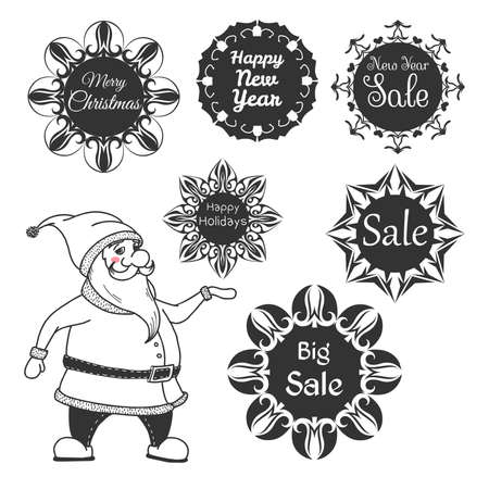 Santa Claus. Set of festive stickers snowflakes with the text. Vector illustrations in sketch style