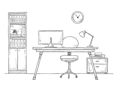 Sketch the room. Office chair, desk, various objects on the table. Sketch workspace. Vector illustration 向量圖像