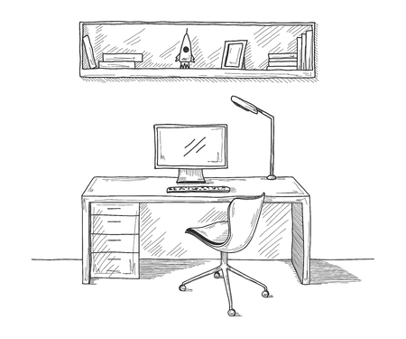 Sketch the room. Office chair, desk, various objects on the table. Sketch workspace. Vector illustration Illusztráció