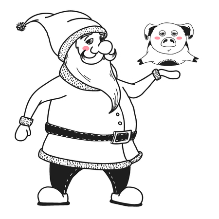 Santa Claus is holding a pig. Vector illustrations in sketch style