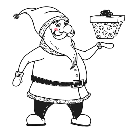 Santa Claus is holding a gift. Vector illustrations in sketch style Illusztráció