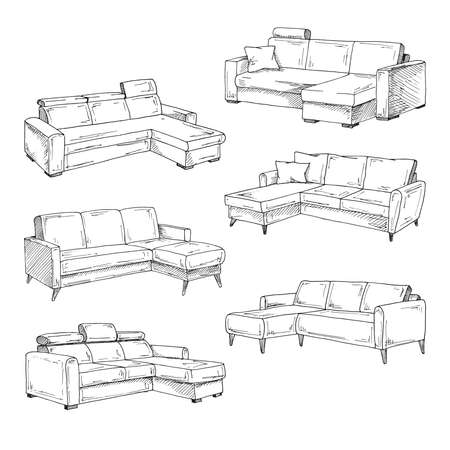 Set of sofas isolated on white background.Vector illustration in a sketch style. Illusztráció