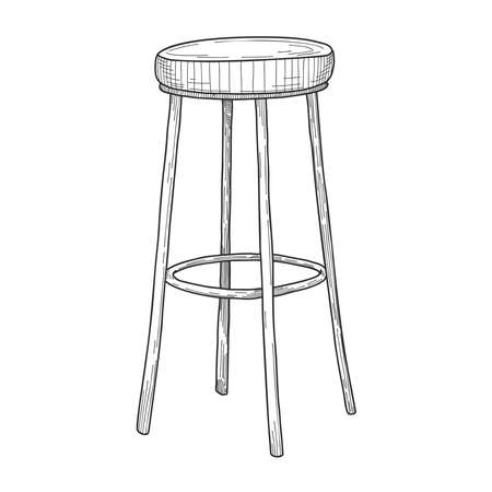 Sketch of bar chairs. High chair isolated on white background. Vector