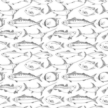 Seamless pattern with different fishes. Vector