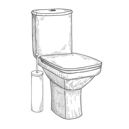 Sketch of toilet bowl and other toiletries isolated on white background. Vector