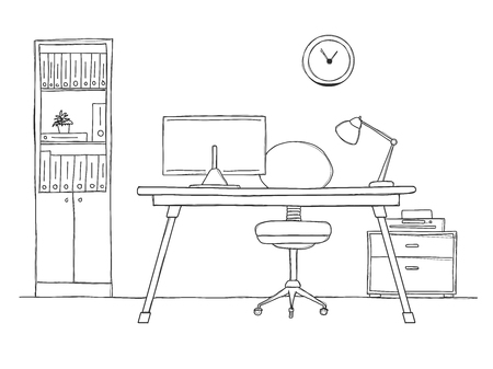 Sketch the room. Office chair, desk, various objects on the table. Sketch workspace. Vector illustration Vettoriali