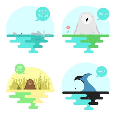 Illustration sur le thème du réchauffement climatique. Illustration sur le thème de la pollution de l'océan. Vecteur