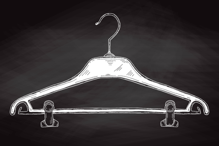 Sketch clothes hangers on chalk board. Vector