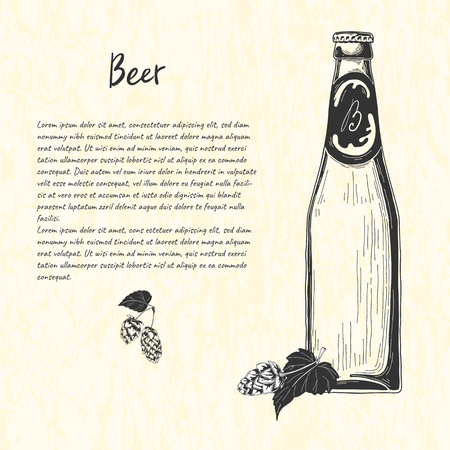 Beer bottle in sketch style. Vector illustration for bar menu  イラスト・ベクター素材