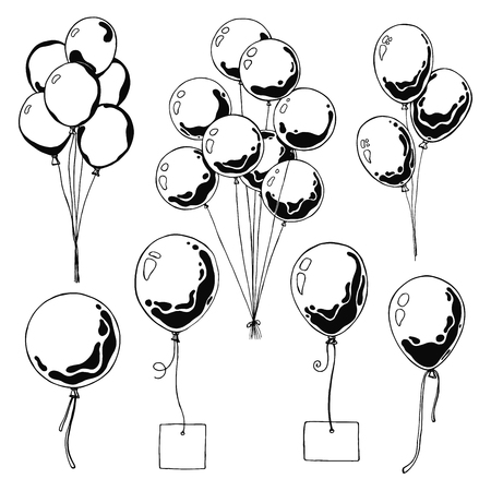 Set of different balloons. Inflatable balls on a string. Inflatable balloons with a card for text. Sketch Illustration