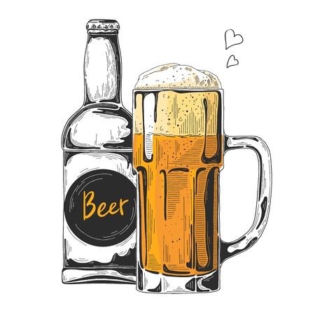 Bottle of beer. Glass with beer. Vector illustration of a sketch style. Illustration