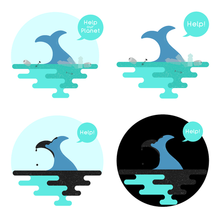Illustration on the theme of pollution of the ocean. Vector