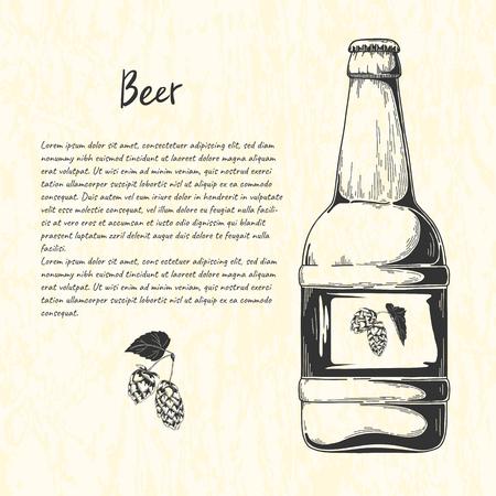 Beer bottle in sketch style. Vector illustration for bar menu Illustration