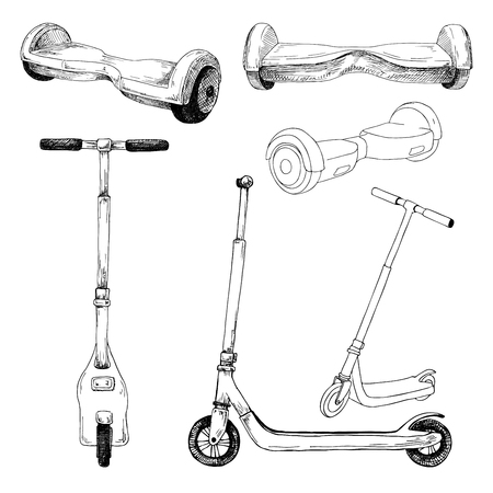 Set of different scooters and hoverboards. Vector illustration in sketch style. Ilustração