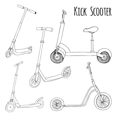 Set of different scooters. Vector illustration in sketch style.