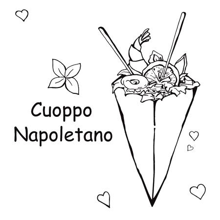 Cuoppo Napoletano. Sketch Italian cuisine. Vector illustration in sketch style.
