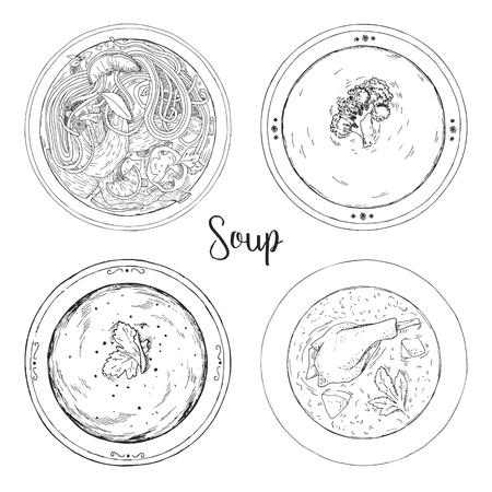 Set of different soups. Vector illustration in sketch style. Illustration