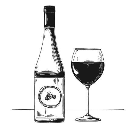 Bottle with wine and wine glass. Vector illustration