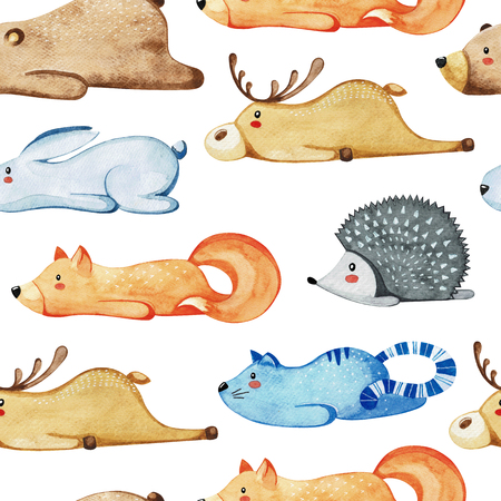 Seamless pattern with different cute animals. Lazy animals.