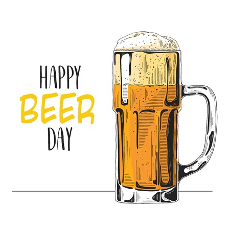 Sketch of a glass of beer. Text: happy beer day. Vector illustration of a sketch style.