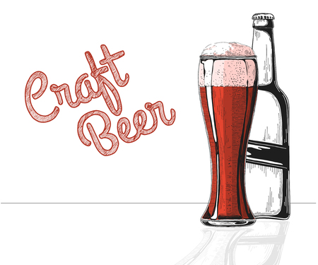 Bottle of beer. Glass with beer. Craft beer. Vector illustration of a sketch style.