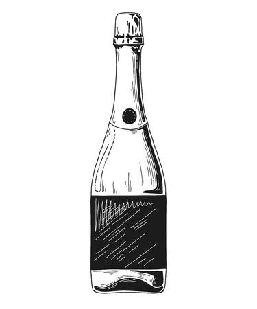 Sketch bottle for wine isolated on white background. Vector illustration Illustration