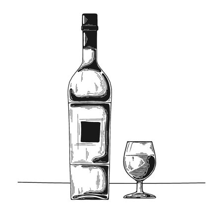 Bottle with alcohol and glass. Vector illustration Illustration