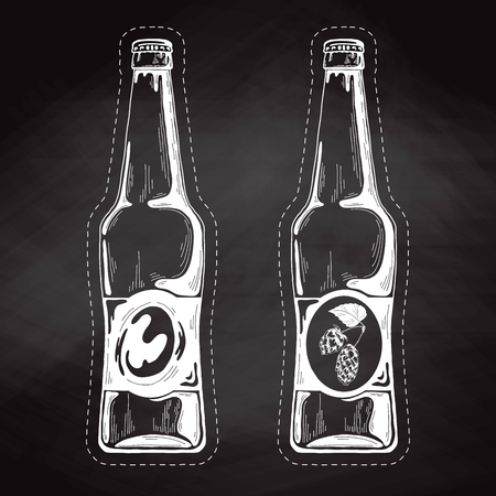 Set of beer bottles. Vector illustration. Sketch