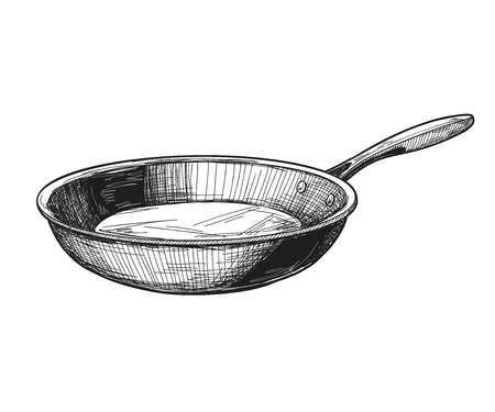 Frying pan isolated on white background. Vector illustration